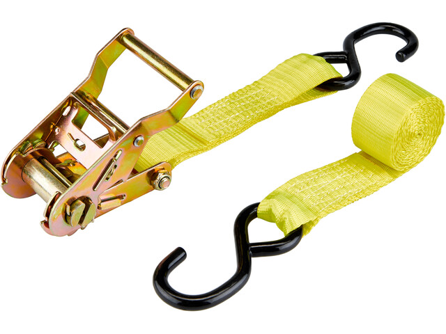 CAMPZ Ratchet Belt with Double S-Hook 3,5cm x 2m, yellow